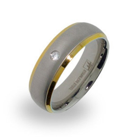 Mens Brushed Steel and Gold Wedding Band with Single CZ Size 10 (Sizes 10 11 12 Available)