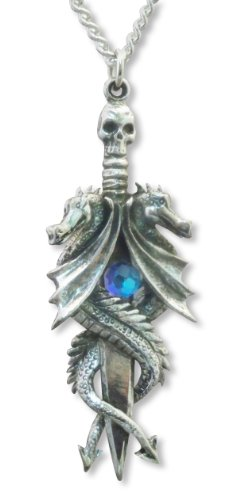 Double Dragon Sword with Blue Crystal Medieval Renaissance Pendant Necklace
