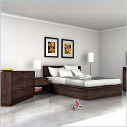 Sonax Manning Contemporary Ebony Pecan Double Bed 4 Piece Set
