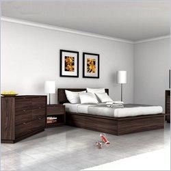 Sonax Manning Contemporary Ebony Pecan Queen Bed 4 Piece Set