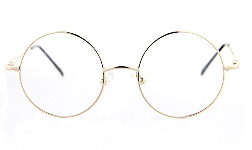 Agstum Retro Round Prescription ready Metal Eyeglass Frame (Medium Size) (Gold) (Spectacles Frame compare prices)