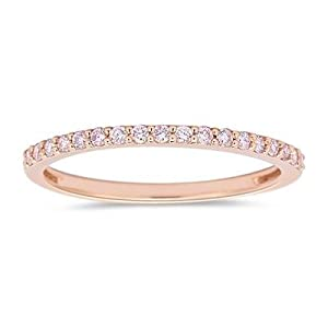 1/4 (0.21-0.27) Cts Natural Pink Diamond Ring in 10K Pink Gold-7.0