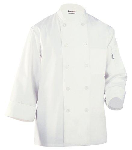 Chef Works Wccw Le Mans Basic Chef Coat, White, X-Large