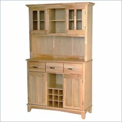 Home Styles Furniture 3 Drawer Large Natural Wood Buffet with Natural Top and 2-Door Hutch