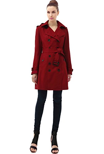 "BGSD Women's ""Alexa"" Classic Hooded Long Trench Coat - Red L"