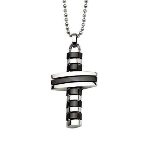 Men's Stainless Steel and Black Flexible Cross Pendant