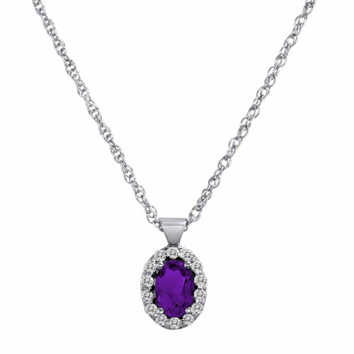 DivaDiamonds Sterling Silver Oval Amethyst and Diamond Pendant w/18 Inch Sterling Silver Chain (3/4 cttw, F-G, VS)