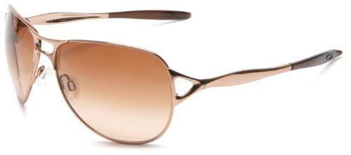 Oakley Women's Hinder Aviator Sunglasses,Rose Gold Frame/Vr50 Brown Gradient Lens,one size
