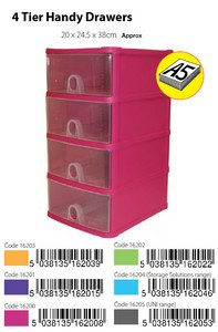 Whatmore A5 Orange 4 Tier Plastic Handy Drawers Storage Unit