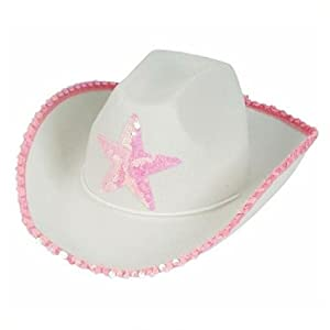 White Felt Cowgirl Cowboy Hat With Pink Star