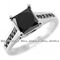Fine Princess-Cut Black Diamond Engagement Ring 14k White Gold