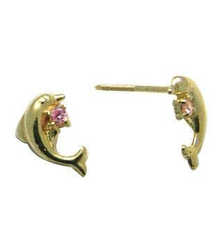 14K Yellow DOLPHIN BABY SCREW Earring (pink)
