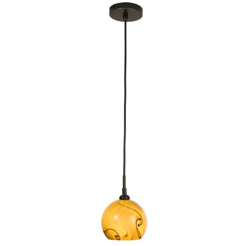 Checkolite 25300-36 Home Design Art Glass 40-Watt 1-Light Pendant, Dark Bronze