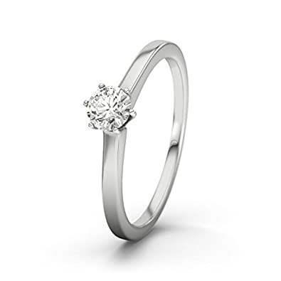 Rosario 21DIAMONDS Women's Ring VS2 0.25 ct Brilliant Cut Diamond Engagement Ring, 9ct White Gold Engagement Ring