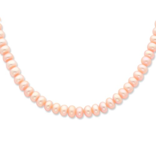 Sterling Silver 6-7mm FW Cult. Pearl Peach Necklace. 18in long Necklace.