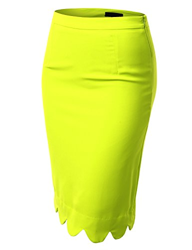 J.Tomson Womens Detailed Pencil Skirt Lime Medium