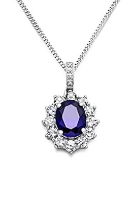 Miore 925 Sterling Silver Diamond Set Bail Sapphire Blue and Zirconia Cluster Pendant on 45 cm Chain