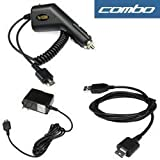 Rapid Car Charger with Ic Chip + USB Data Cable + Home Travel Charger for Lg Vu Cu920, Shine Cu720, Venus Vx8800, Voyager Vx10000, Cu515, Vx5400, Rumor, Scoop, Ux260, Cg180, Ce110, Vx8350, Lx160, Flare, Ax380 Wave, Ux380, Cu575 Trax, Vx8550 Chocolate, Lx570 Muziq, Ax565, Ux565, Ax275, Vx8700, Vx9400, Vx9900 Env, Lx150, Vx8600, Ax8600, Vx8500 Chocolate Cell Phone ~ Bargaincell