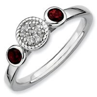 0.35ct Silver Stackable Db Round Garnet & Diamond Ring. Sizes 5-10 Available