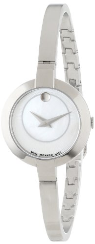 Movado Women's 0606616 Bela Stainless Steel Case and Bangle Bracelet White Mother-Of-Pearl Dial Watch