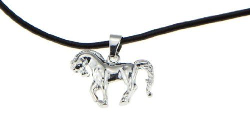Running Pony Silver Pendant Black Cord Chain Horse Necklace for Girls Woman Cowgirl Birthday Jewelry Gift