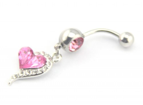 Baqi 14 Guage Pink Rhinestones Love Heart Dangle Belly Ring Navel Bar Barbell Stud Body Jewelry Piercing Kit 7/16 Inch 1.6Mm Red