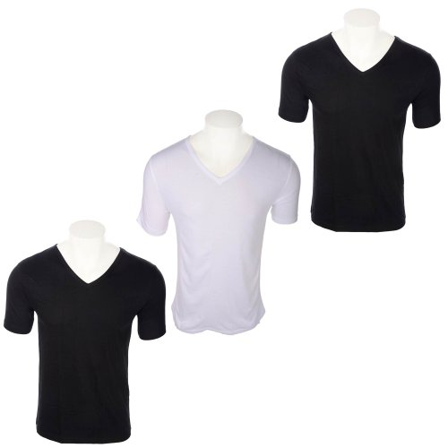 Fletcher & Lowe Mens 3 Pack Black and White Short Sleeve V-Neck Vests in Size XL