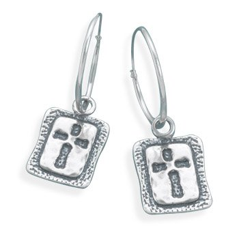 Sterling Silver Oxidized Cross Hoop Earrings