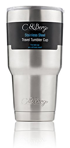 Stainless Steel Tumbler 30 Oz Cup, Double Wall Vacuum Insulation - Ice Cold Cooler Thermos Travel Mug, Keep Beverages Hot, No Sweat, BPA Free, Thermal (Snap On Can Koozie compare prices)