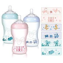 Nuby 3 Pack BPA Free Natural Touch Printed Bottles - 10 oz. - girl colors - 1