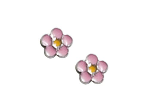 925 Sterling Silver Childrens Pink and Yellow Flower Earrings LIFETIME WARRANTY