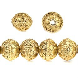 8mm 22kt Gold Plated Copper Bead Roval Persian Circle