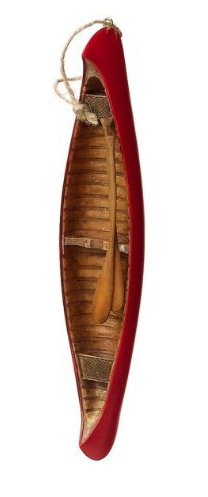 Red Wooden Canoe & Oars Christmas Tree Ornament
