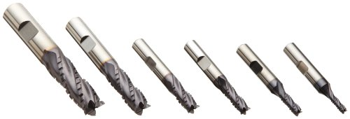 Niagara Cutter RFCB443 Cobalt Steel End Mill Set, Chipbreak Roughing Finishing, TiAlN Coated, 4 Flutes, 6-piece