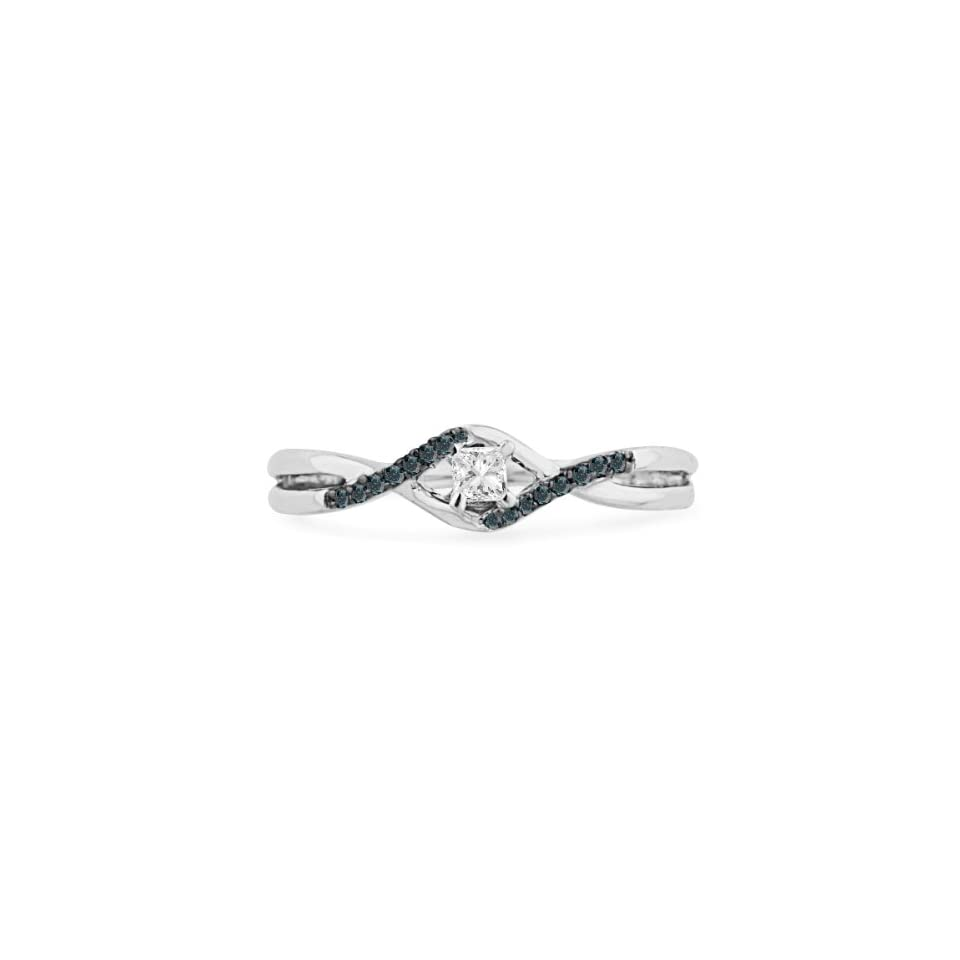 10KT White Gold Blue And White Princess and Round Diamond Promise Ring (1/6 CTTW)