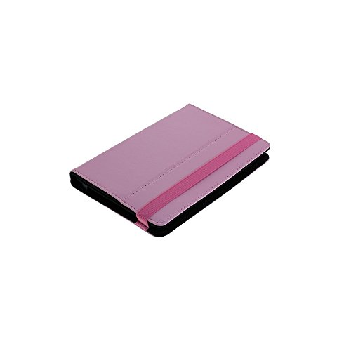 Z0104 Universal Leder Bookstyle Tasche Buch Aufklapp Stand Bag Hardcover Hardcase Tasche Case Hülle Cover 7 Zoll Kletthalterungen Rot für Bookeen Cybook Odyssey HD