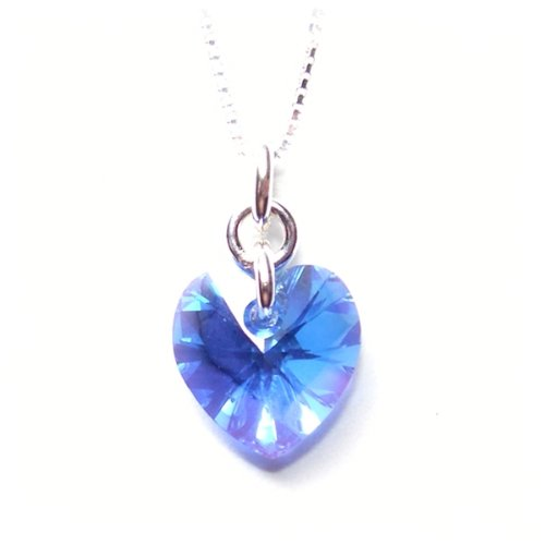 Sparkling heart pendant made with a Sapphire blue heart Swarovski crystal stone on a fine 925 Sterling silver chain. Gift box. Made in England. Beautiful jewellery for very special people.