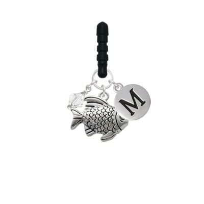 Antiqued Fish Initial Phone Candy Charm| Silver Pebble Initial| M coupon codes 2015
