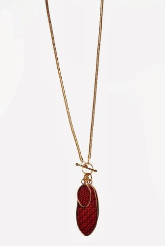 Compare Tribal Zone Pendant For Women Golden And Red