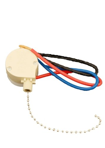 Leviton 1689-50 Pull Chain Switch, 3 Speed, 4 Position, 3A-250V Ac, 6A-125V Ac, 3A-125V Ac-L, Number 6 Chain, 3 3/4 Inches Long, Bell Nut & Cord