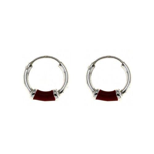 Lightweight Cute Red Hoop Earrings for Teen Girls Jewelry Sterling Silver