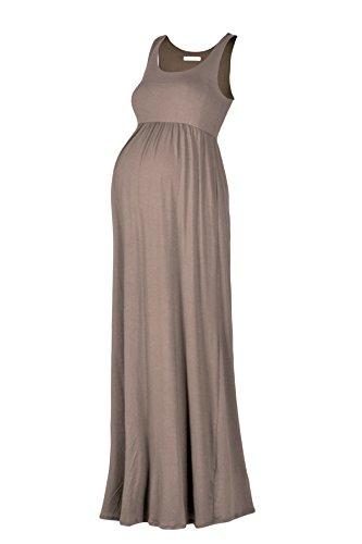 Beachcoco Women's Maternity Maxi Tank Dress (L, Mocha)