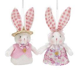 2pc. White Girl Boy Bunny Easter Plush Ornaments