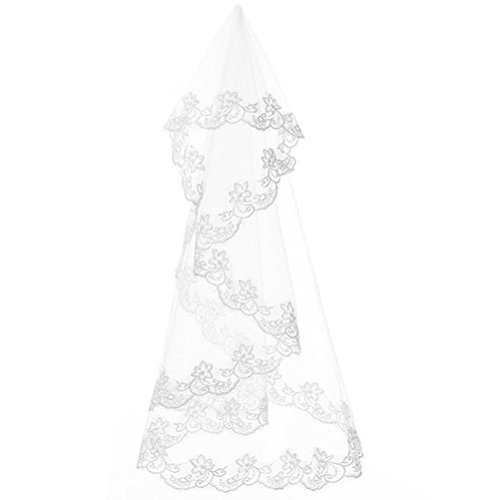 Linabridal Women's Bridal Veils Lace Edge Wedding Veil With Comb FYT017IV-Lace