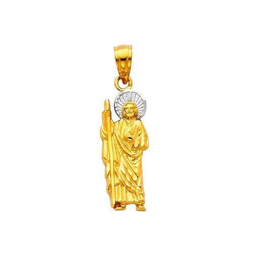 14K Yellow and White 2 Two Tone Gold Small Jesus Religious Charm Pendant