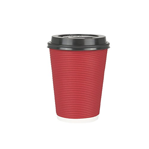 EtechMart Red Double Wall Insulated Disposable Coffee Cup w/ Black Lid (14oz, Pack of 50)