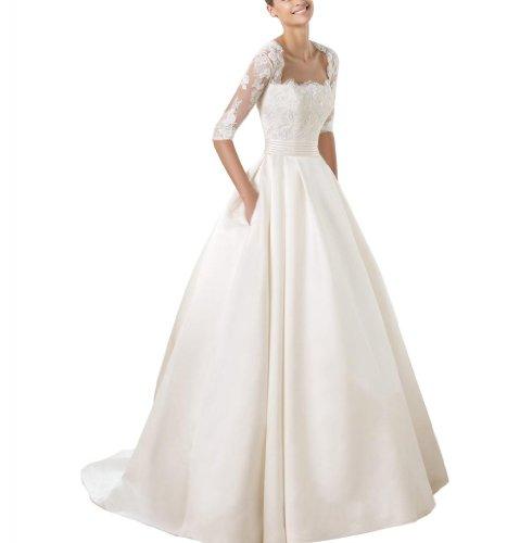 GEOGE BRIDE schlichte A-Linie halb Spitze Aermeln Satin Hochzeitskleid, Groesse 48, Elfenbein