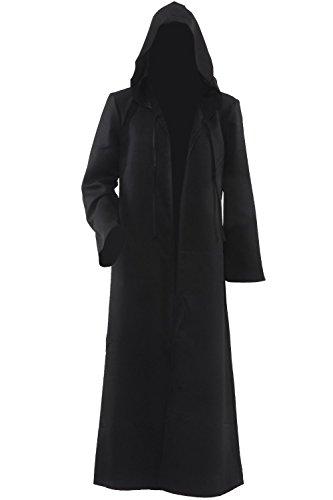 Accappatoio da uomo con cappuccio, motivo: Mantello per Cosplay Costumes-Costume da cavaliere nero M