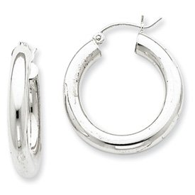 Sterling Silver 4mm Round Hoop Earrings - JewelryWeb