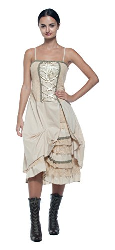 Womens-Plus-Antique-Style-Lace-Up-Corset-Tiered-Ruffle-Bustle-Frontier-Dress